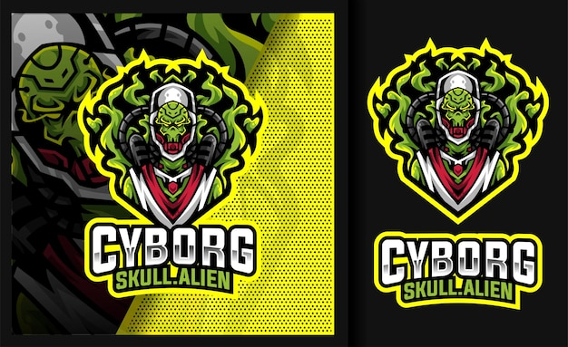 Cyborg skull alien gaming mascot logo