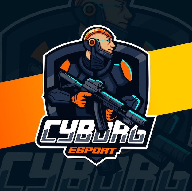 銃のマスコットのeスポーツのロゴデザインとサイボーグ