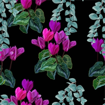 Cyclamen and tropical leaves seamless pattern