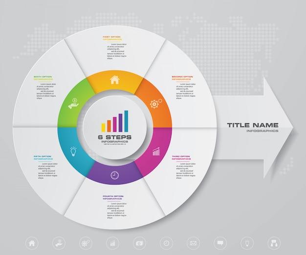 データ表示のためのサイクルと矢印チャートのインフォグラフィック