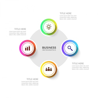 Cycle business process infographic with multiple options