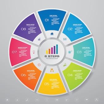 データ表示のためのサイクルチャートインフォグラフィック要素。