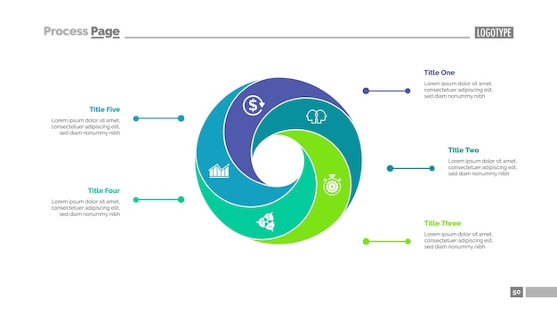 Cycle chart with five elements template