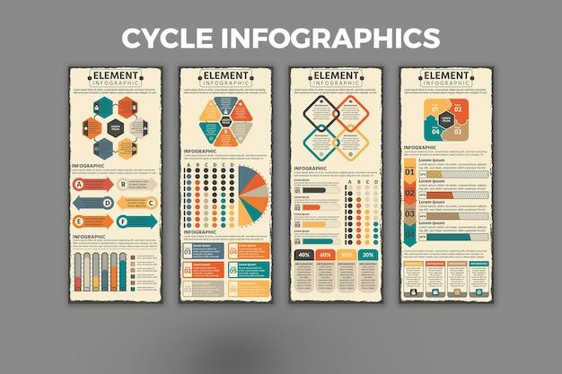 サイクルインフォグラフィックデザインテンプレート