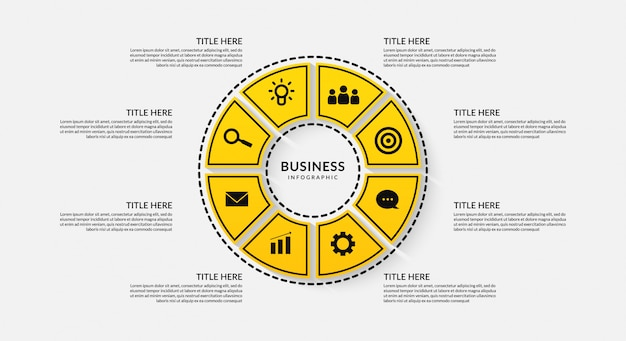 Cycle infographic with eight optional, outline data communication for business report