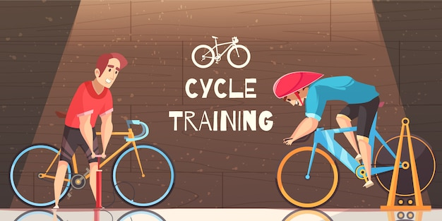 Cycle racing training cartoon