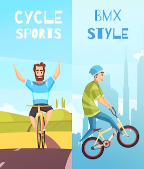 Cycle racing vertical cartoon banner set