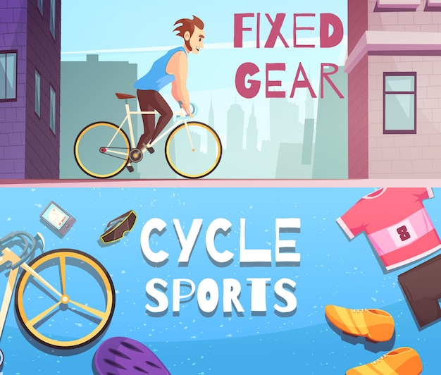 Cycle sports horizontal cartoon banner set