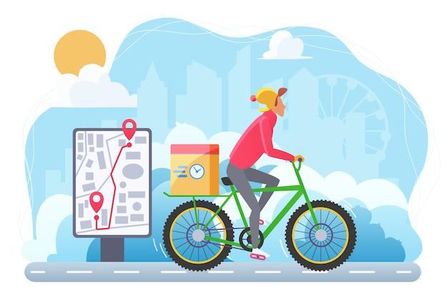サイクル冬の極端な配達フラット。自転車の漫画のキャラクターの宅配便。エコロジカルエクスプレス配送サービス。小包を運ぶサイクリスト。パッケージで運転する寒い天気の人