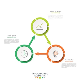 Cyclical diagram with 3 paper white round elements connected by arrows. creative infographic design layout. vector illustration in modern clean style for four-stepped business cycle visualization.