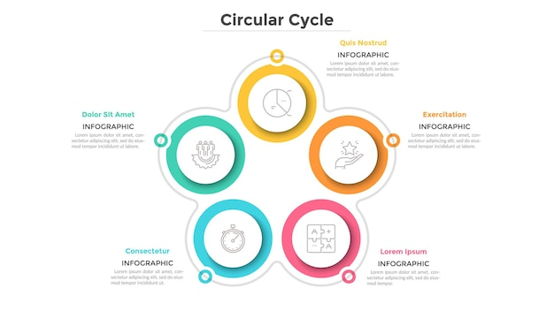 Cyclical diagram with 5 paper white circular elements. business cycle with five steps or stages. simple infographic design template. flat vector illustration for project features visualization.