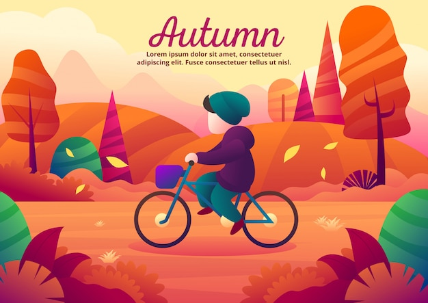 Cycling alone during the autumn season vector illustration