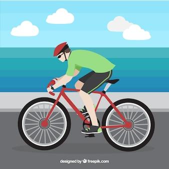 フラットデザインでのサイクリングの背景