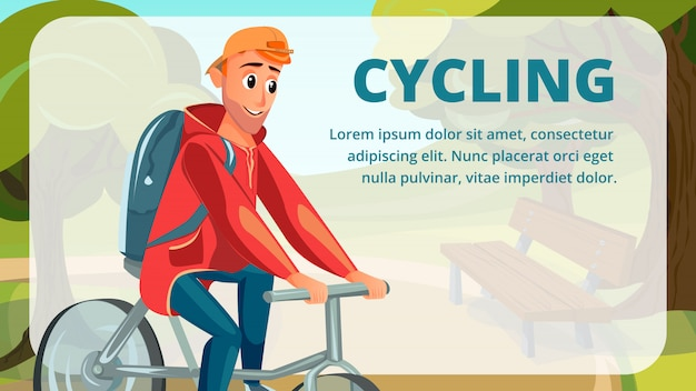 Cycling banner cartoon man bicycle summer sport