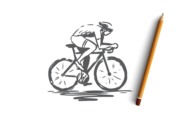Cycling, bicycle, bike, speed, sport concept. hand drawn man cycling on bike concept sketch.   illustration.