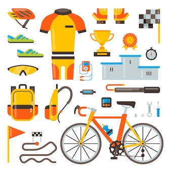 Cycling on bike  bicycle accessories of biker or cyclist in sports wear clothes with helmet illustration set of biking race elements isolated