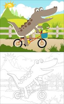 Cycling cartoon with crocodile and turtle