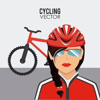 白い背景ベクトルイラストサイクリングデザイン