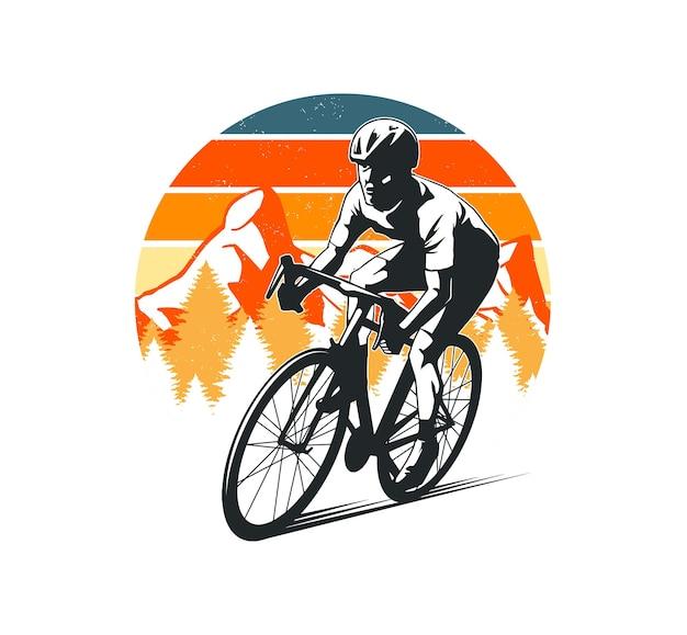 배지, 로고 및 기타를위한 산 배경이있는 사이클링 디자인
