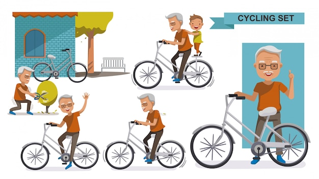Cycling elderly cycling older set. grandfather and grandson. male relax in the  city bike,