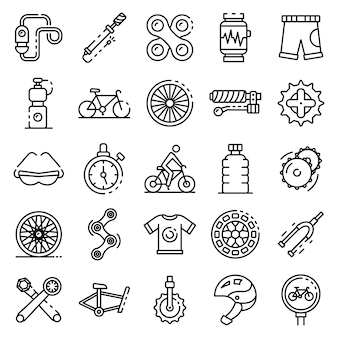 Cycling equipment icons set, outline style