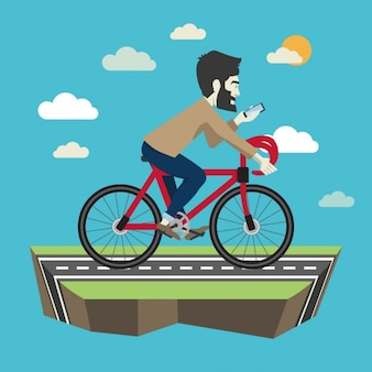 Cycling hypster flat illustration