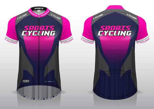 Cycling jersey, front and back view, sporty design and ready to be printed on fabric and texlite