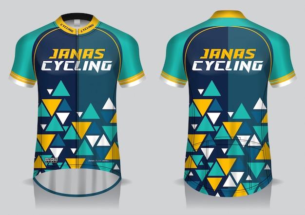 Шаблон велосипедной майки, униформа, футболка с видом спереди и сзади