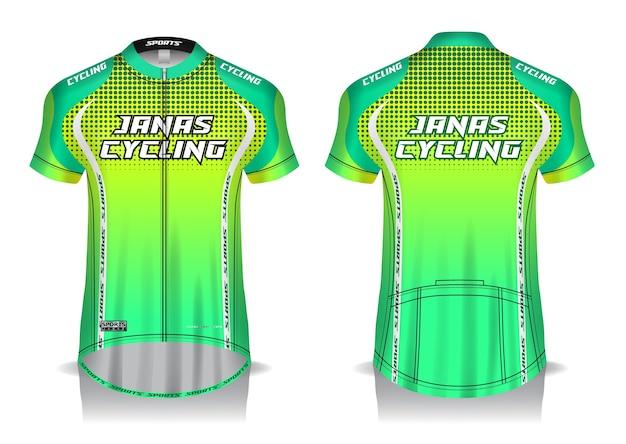 サイクリングジャージーテンプレート、ユニフォーム、正面および背面図
