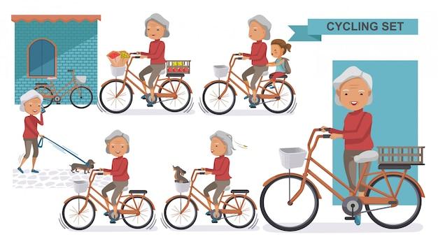 サイクリング古いサイクリング古いセット。おばあちゃんと小さな。女性は市内の自転車でリラックス、