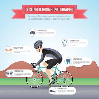 サイクリングまたはサイクリングインフォグラフィックデザインテンプレート