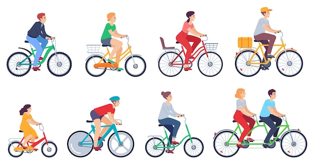 Cycling people set
