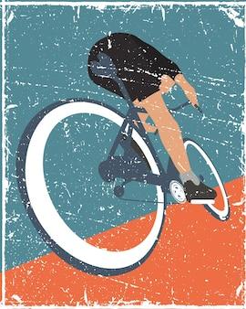 サイクリングポスターピープルアンティークスタイル
