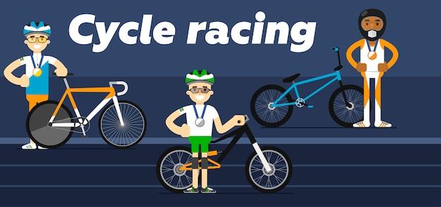 Cycling racing athletes on podium