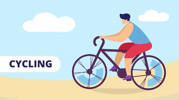 Cycling sport, man riding bicycle outdoors