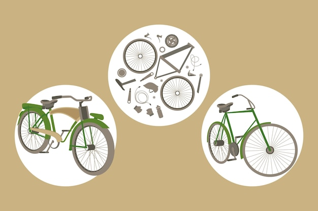 Cycling sport three icons