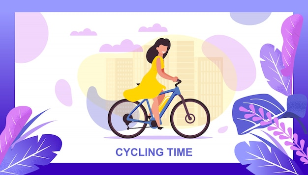 Cycling time flat banner offering city eco tour.