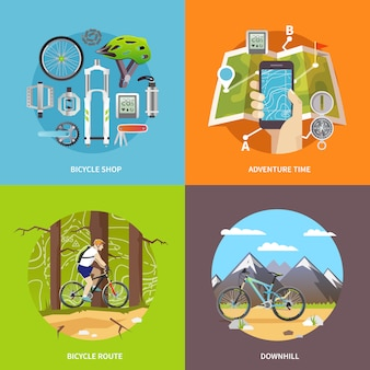 Cycling vector square banners