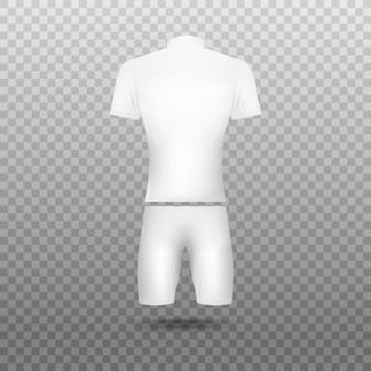 Велоспорт белые пустые майки реалистичные иллюстрации на прозрачном фоне. униформа для велосипедистов, шаблон одежды спортивной команды.