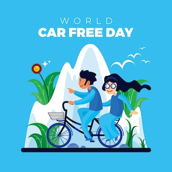 Cycling with love in the mountains on world car free day