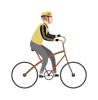 サイクリストの漫画のキャラクター。特別な服、屋外レジャー活動、旅行の概念で自転車に乗る幸せな男