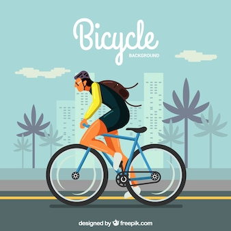 Cyclist in the city with flat design