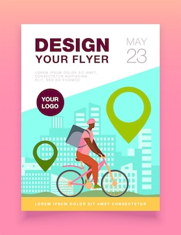 Cyclist delivering food to customers in city flyer template
