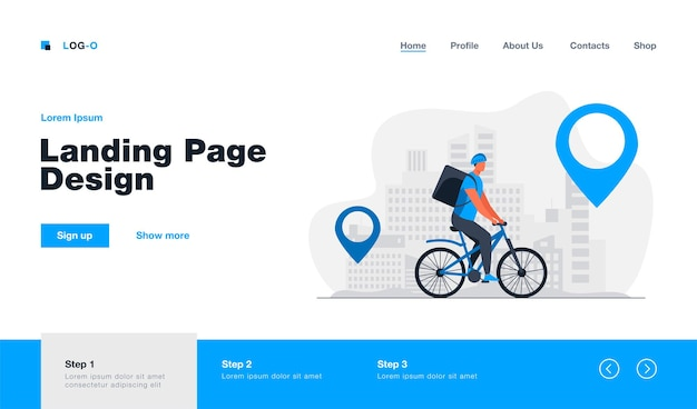 Cyclist delivering food to customers in city landing page in flat style