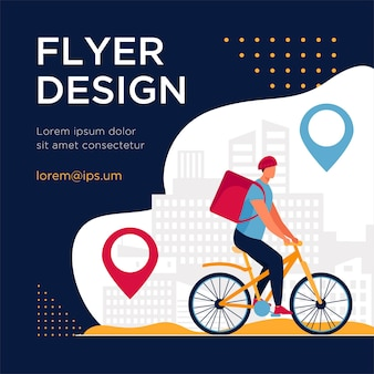 Cyclist delivering food to customers in city. pin, route, town flat flyer template