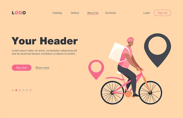 Cyclist delivering food to customers in city. pin, route, town flat  landing page. transportation and delivery service concept for banner, website design or landing web page