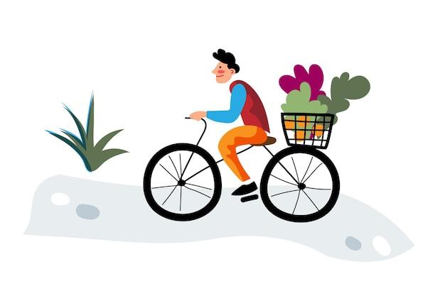 サイクリストは自転車に乗って健康食品を買う男に有機野菜を届けます