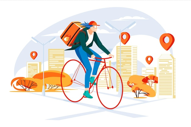 Cyclist delivery service concept  in the city girl courier young people doing job fast city map w
