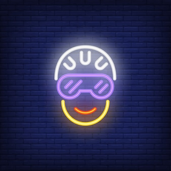 Cyclist head in helmet and glasses neon sign