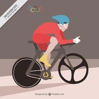 Велосипедист в олимпийском фоне игры